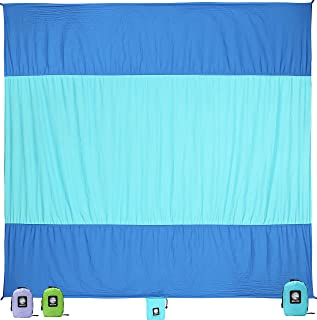 WEKAPO Sand Free Beach Blanket, Extra Large Oversized 10'X 9' for 7 Adults Beach Mat, Big & Compact Sand Proof Mat Quick Drying, Lightweight & Durable with 6 Stakes & 4 Corner Pockets