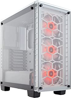 CORSAIR Crystal 460X RGB Compact Mid-Tower Case, 3 RGB Fans, Tempered Glass - White