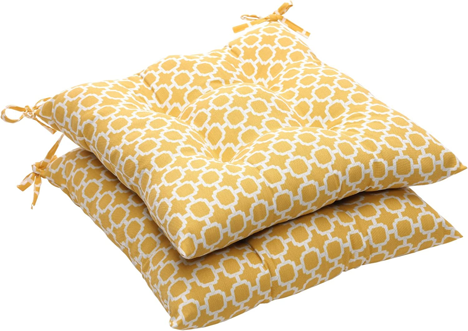 Pillow Perfect Indoor Outdoor Yellow White Geometric Tufted Seat Cushion, 2-Pack
