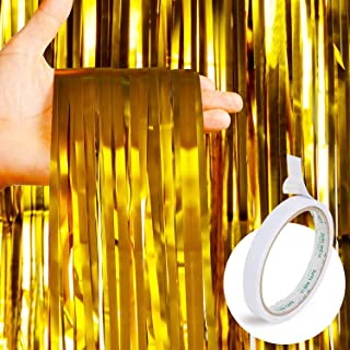 4 Pack Golden Foil Curtains Metallic Backdrop Fringe Curtains Shimmer Curtain for Holiday Celebration Party Decorations (Golden) + 1 pc Double Sided Adhesive Tape for Free