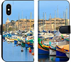 MSD Premium Phone Case Designed for iPhone X and iPhone Xs Flip Fabric Wallet Case Image ID: 21599922 Boats in The Bay of Valletta in Malta
