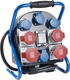 as - Schwabe Strom-Verteiler FLEXY 4 – Hochbruchfester Spezialkunststoff – Mit Kabel-Aufwickler – 2 m schwere Gummischlauchleitung H07RN-F 5G4 – Außenbereich geeignet – IP44 – Made in Germany I 60904