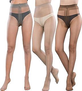 パンティーストッキングの女性薄手ストッキング3パックフル長強化Tクロッチ15デニール …