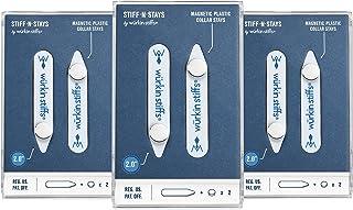 Wurkin Stiffs-یقه مغناطیسی پلاستیکی 3 جفت 2.0 اینچی Stiff-N-Stay با کیف ذخیره سازی