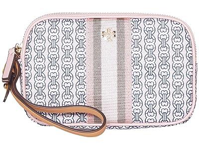 Tory Burch Gemini Link Canvas Wristlet (Coastal Pink Gemini Link) Handbags