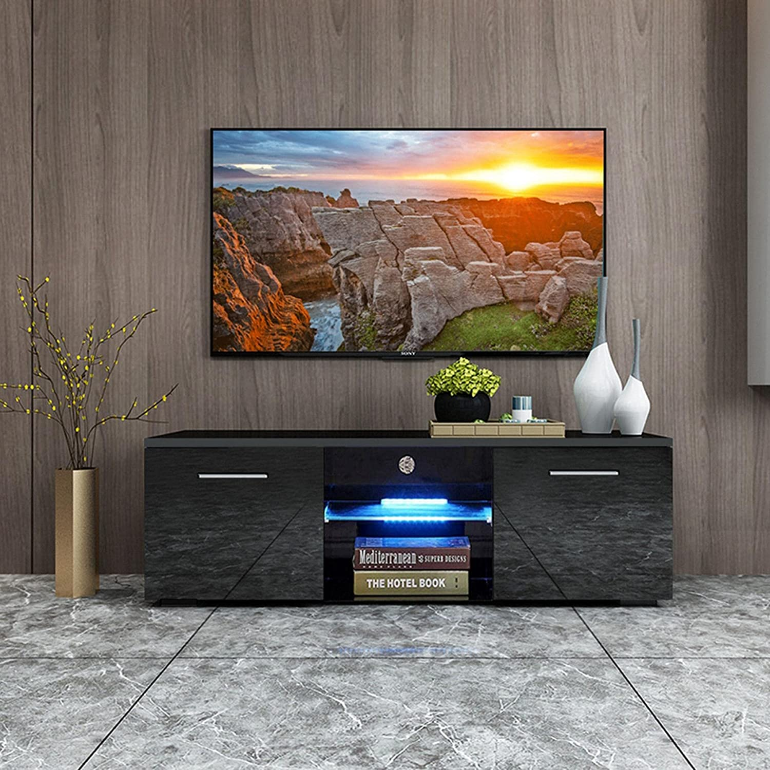 XINQITE Modern Department store Black TV Stand with Entert Super sale Cabinet LED Lights
