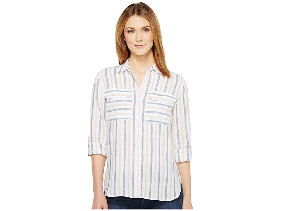 TWO by Vince Camuto Long Sleeve Stripe Relaxed Linen Shirt (Blush Pink) Women