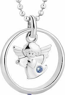 Fish - Colgante infantil de plata de ley con forma de ángel de la guarda, azul, empaquetado para regalo