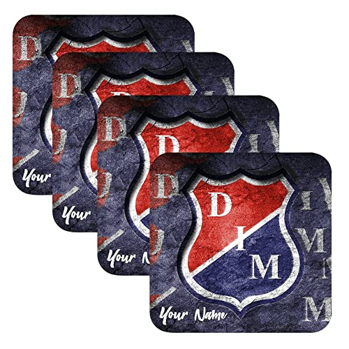Azty Designs Set of 4 Personalized Custom Wood Coaster Glossy Liga Colombia Futbol Soccer
