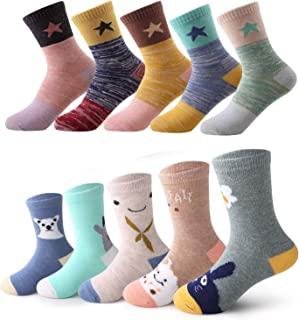 storeofbaby Toddler Kids Boys Girls Socks 10 Pairs Fun Novelty Fashion Cotton Crew Dress Socks