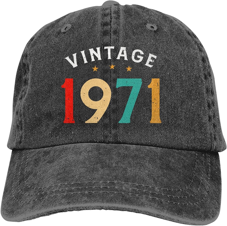 Vintage 1971 50th Birthday Unisex Baseball Cap Adjustable Comfortable Cap Vitage Hat