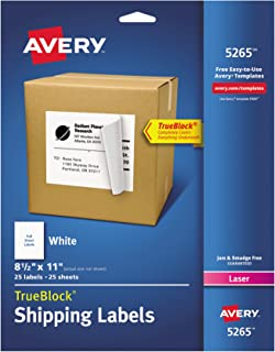 Avery Shipping Address Labels, Laser Printers, 25 Labels, Full Sheet Labels, Permanent Adhesive, TrueBlock (5265), White