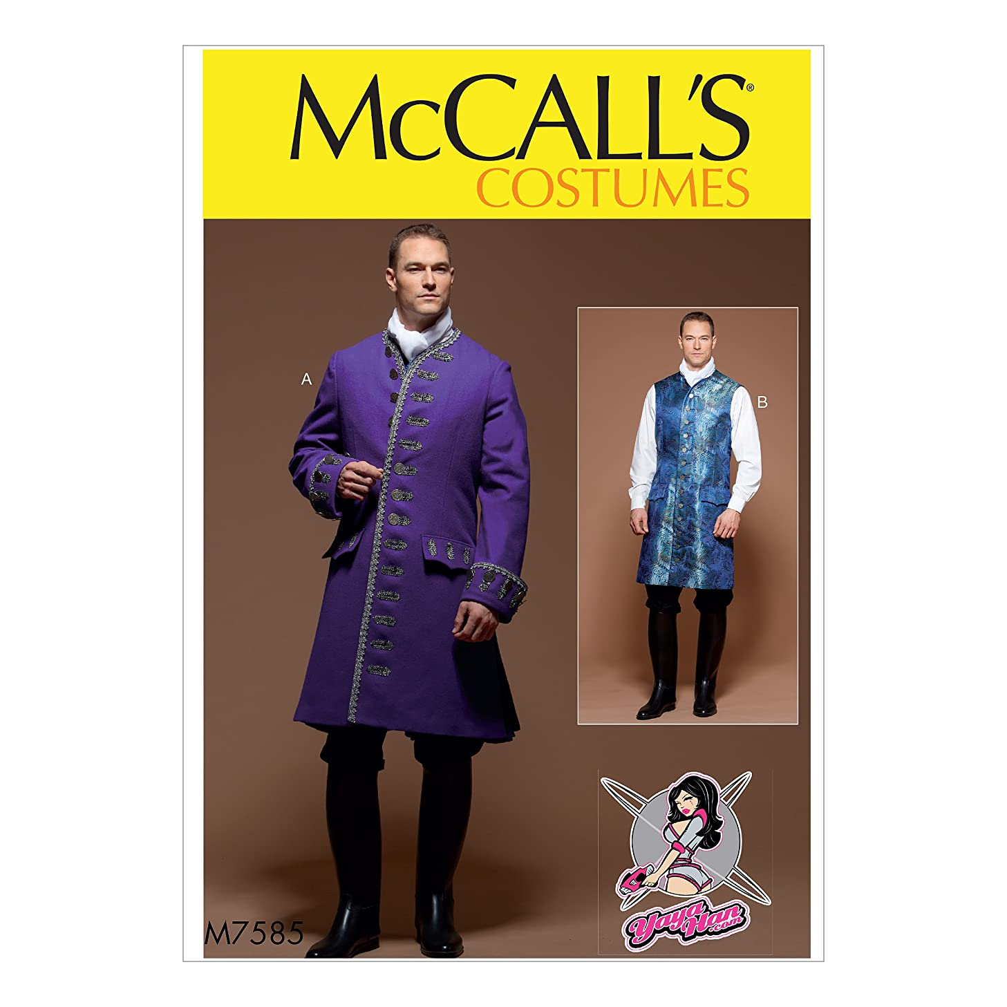 McCall's M7585 Men's Coat Cosplay Coat Costume Sewing Pattern by Yaya Han, Sizes 38-44