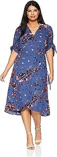 Women's Plus Size Midi Wrap Dress