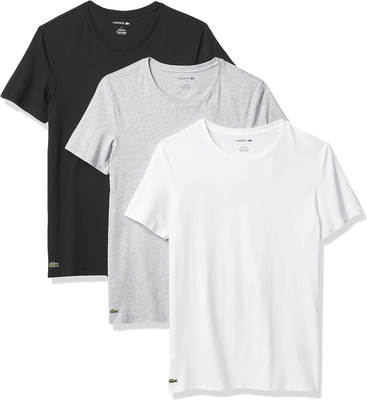 Lacoste Men's Essentials 3 Pack 100% Cotton Slim Fit Crew Neck T-Shirts