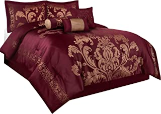Chezmoi Collection Royale 7-Piece Jacquard Floral Comforter Set (Queen, Maroon/Gold