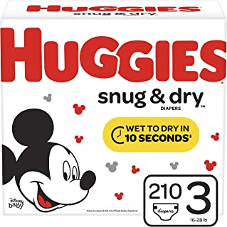 Huggies Snug & Dry Diapers, Size 3 (16-28 lb.), 210 Ct, One Month Supply (Packaging May Vary)