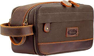 Manificent Leather Toiletry Bag Vintage Waxed Canvas Makeup Travel Organizer Shaving Dopp Kit, Cosmetic Makeup Bag