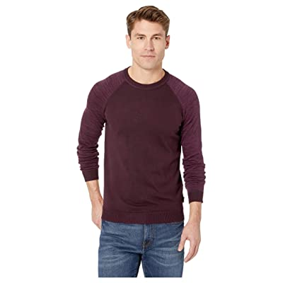 Ted Baker Cornfed Long Sleeve Raglan Sleeve Crew Sweater (Dark Red) Men
