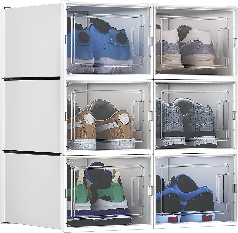 YITAHOME Shoe Box Medium Size, Set of 20 Shoe Storage Lightweight Cardboard  Organizers Stackable Shoe Storage Box Rack Drawer White