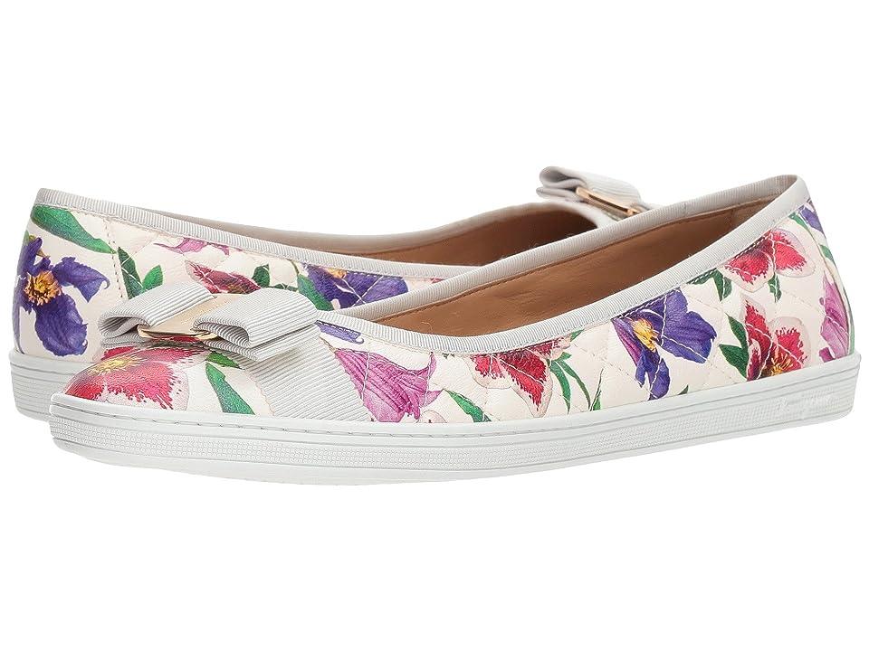 Salvatore Ferragamo Nappa Leather/Tweed Sneaker (White/Multicolor Capra Bunny) Women