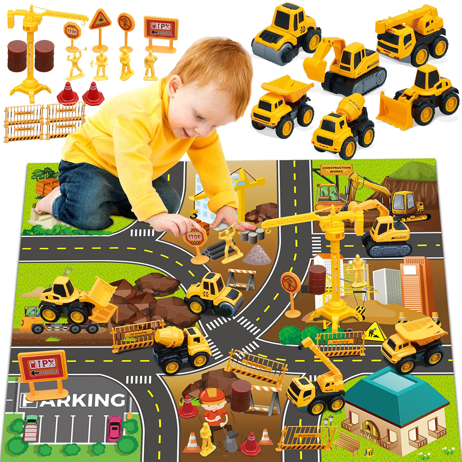 TOY Life Construction Vehicles Truck Sandbox Toy Set for Kids with 27.75x32.28 Inch Play Car Mat& 6 Construction Diecast Pull Back Cars -Construction Truck Tractor Excavator Cake Topper Toy for Boy 3+