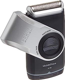 ماكينة حلاقة كهربائية مع أداة تشذيب دقيقة M90 موبايل قابلة للغسل لون اسود/فضي للرجال من براون