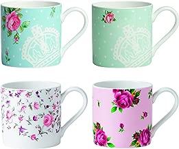 Royal Albert New Country Roses Modern Mugs, White, Set of 4