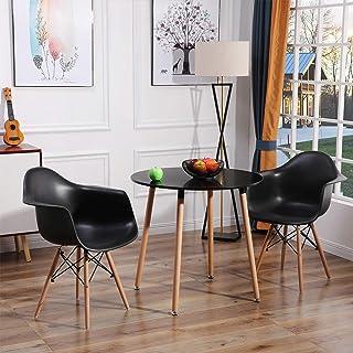 EGGREE Ensemble Table et 2 Chaises Scandinave, Table de Salle à Manger Ronde en Bois pour 2 Personnes avec Fauteuils en Pl...