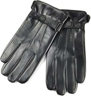 SIEFERSN Classic Style Men's Lambskin Gloves Whole Hands Touchscreen Warm Winter Driving Leather Gloves 1164225004