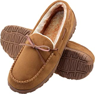 Sponsored Ad - VLLY Mens Slippers Moccasins for Men Cozy Pile Lined with Microsuede Upper Indoor Outdoor Slip On House Shoes