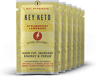 Exogenous Ketone Supplement, Key Keto: Patented BHB Salts (Beta-Hydroxybutyrate) - Formulated for Ketosis, to Burn Fat, Increase Energy and Focus, Supports a Keto Diet. 6 Keto Packets (Straw/Lem)