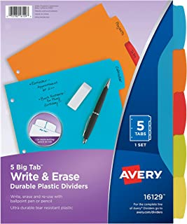 Avery Big Tab Write & Erase Durable Plastic Dividers, 5 MulticolorTabs, 1 Set (16129)