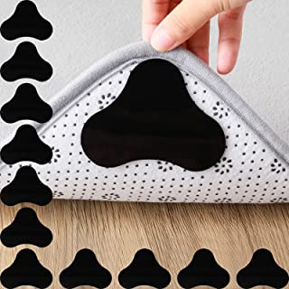 20 Pieces Rug Grippers Non Slip Reusable Carpet Gripper Washable Double Sided Anti Curling Rug Pads for Hardwood Floors, T...
