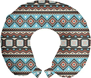 "Ambesonne Aztec Travel Pillow Neck Rest, Vintage Illustration of Scandinavian Inspired Motifs, Memory Foam Traveling Accessory for Airplane and Car, 12"", Multicolor"