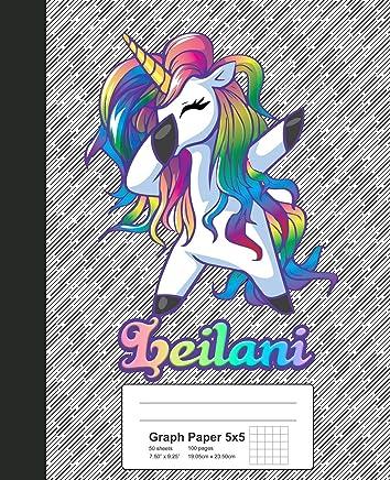 Graph Paper 5x5: LEILANI Unicorn Rainbow Notebook