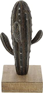 Deco 79 59427 Iron Cactus Sculpture with Wooden Base, 10