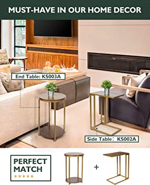 Round End Side Table-Accent Table with Storage - 2 Tier Sofa Side Table for Living Room - Nightstand for Small Space - Wood F