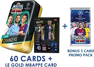 Champions League 2019-20 Topps Match Attax Cards - Mega Tin (60 Cards + Limited Edition Gold Card)+ Bonus 5 Card Promo Pack