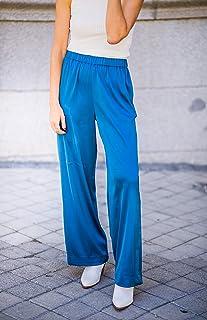 The Drop Pantalón de Meter Para Mujer, de Pierna Ancha, Azul Zafiro, por @balamoda