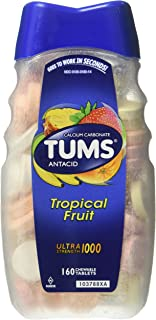 TUMS Ultra Strength 1000 Antacid Tablets, Tropical Assorted Fruit, 320 Count