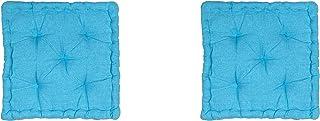 Homevibes Cojín para Silla, Cojin Cuadrado, Juego de 2 Cojines para Suelo o Pallet, Medidas 40 x 40 x 7 cm para Interior o Exterior, Hecho 100% de Algodon, Ideal para Decoración (Aguamarina)