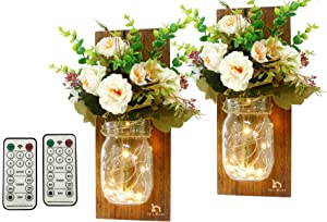 Rustic Wall Sconces-Mason Jar Sconces, Rustic Home Decor with Remote Conctrol (8 Modes) Led Fairy Lights and White Silk Flowers Farmhouse Wall Decorations Bathroom Wall Decor(Set of 2)-Brown