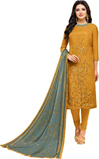 Rajnandini Women's Musturd chanderi silk Embroidered Semi-Stitched Salwar Suit Material With Printed Dupatta (Free Size)