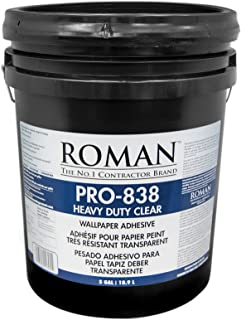 Roman 011305 PRO-838 Heavy Duty Wallpaper Adhesive, 5 gal, Clear