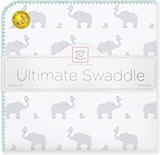 SwaddleDesigns Ultimate Swaddle, X-Large Receiving Blanket, Made in USA Premium Cotton Flannel, Elephant and SeaCrystal Chickies (Mom's Choice Award Winner)