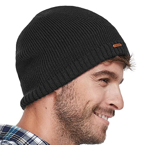 LETHMIK Fleece Lined Beanie Hat Mens Winter Solid Color Warm Knit Ski Skull  Cap 5b43b730613