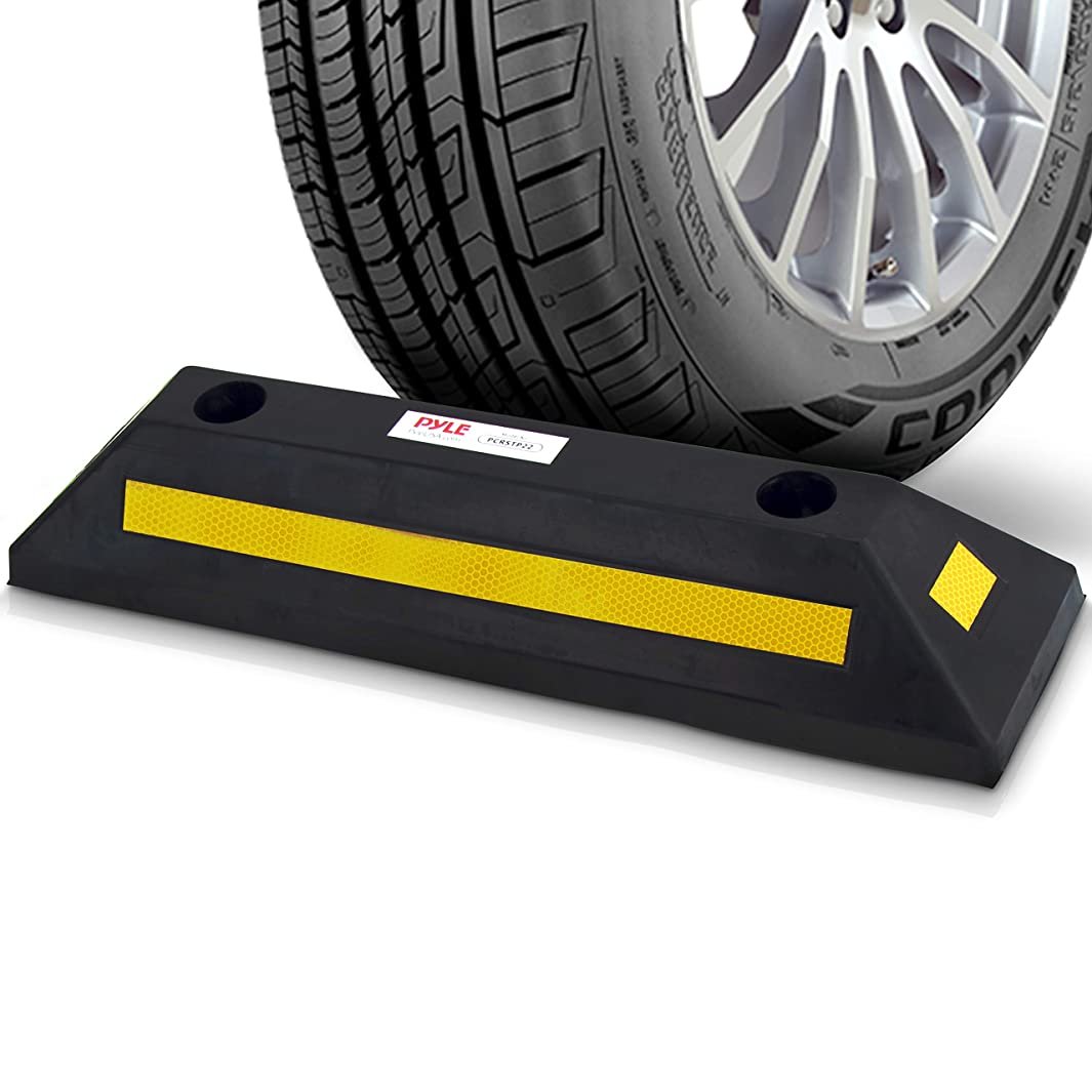 Curb  Garage Vehicle Floor Stopper  for Parking Safety  1PC Heavy Duty Rubber Parking Lot Driveway  Stopper, For Car Vans Trucks Tire Wheel Guide Block Protect  Bumper- Pyle PCRSTP11