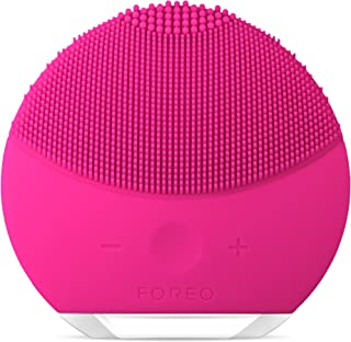 FOREO Luna Mini 2 Facial Cleansing Brush and Skin Care device made with Soft Silicone for Every Skin Type, Fuchsia, 204g