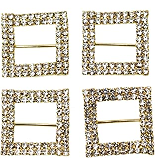 Monrocco 10Pcs Square Gold Tone Diamante Crystal Rhinestone Buckle Chair Sash Ribbon Slider for Wedding Party Festival Home Decorations